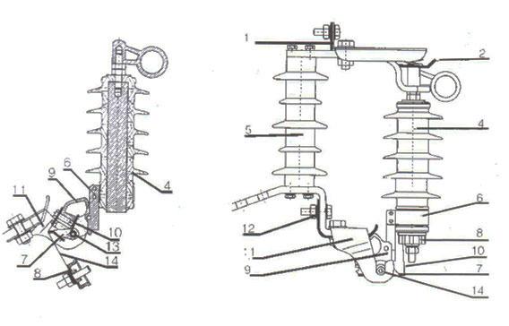 HY5WS型跌落式熔断器外形尺寸图