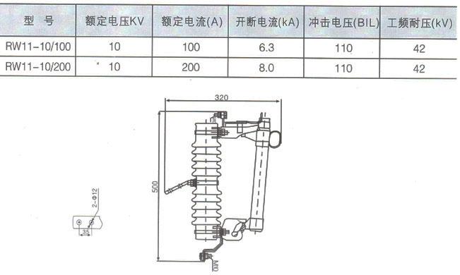 RW11-10型跌落式熔断器参数及外形尺寸